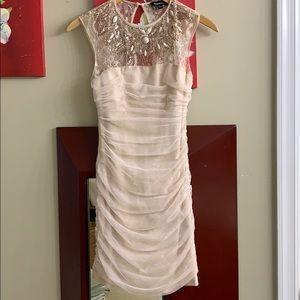 BEBE XXS Nude Sequins Knit Lace Dress Like New